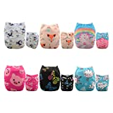 ALVABABY 6 Pack with 12 Inserts Baby diaper, Pocket Cloth Diapers Reusable Washable Adjustable for Baby Boys and Girls 6DM35 (Color: girl color 6DM35, Tamaño: All in one)