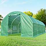 Quictent 2 Doors 20 Stakes Heavy Duty 19.7'x10'x6.6' Portable Greenhouse Large Walk-in Green Garden Hot House 8 vents + 2 doors Flow-through Ventilation (Color: Green, Tamaño: 19.7'x10'x6.6')