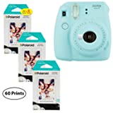 Fujifilm Instax Mini 9 Instant Camera (Ice Blue), 3X Twin Pack Instant Film (60 Sheets) Bundle (Color: Ice Blue, Tamaño: 60 Prints)
