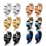 Pusheng Stainless Steel Small Hoop Earrings Set Clip On Earrings Set for Men Women Huggie Earrings Non-Piercing 6 Pairs (Color: 6 Pairs)