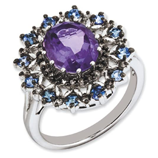 Sterling Silver Amethyst Tanzanite and Rough Diamond Ring - Ring Size Options Range: J to T