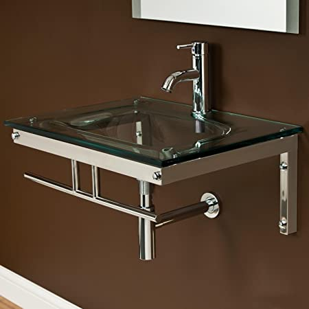 Naiture Glass Wall-Mount Sink Without Mirror And Drain