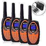 Befove Walkie Talkies, Rechargeable 22 Channel Two Way Radios Long Range Handheld Walkie Talky Kids Adult, Orange 4 Pack (Color: Orange-4)