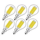 CRLight 6W 3200K LED Globe Bulb Dimmable Soft White 700LM, 70W Equivalent E12 Candelabra Base LED Filament Bulbs, G14(G45) Clear Glass Globe Shape, 360 Degrees Beam Angle, 6 Pack (Color: Soft White 3200K, Tamaño: G45/3200K/Soft White-6Pack)