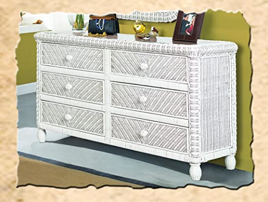 Santa Cruz 6 Drawer Wicker Dresser White