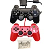 Saloke Wired Gaming Controller for Ps2 Double Shock (Black1 and Red1) (Color: Black1 and Red1)