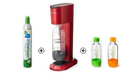 Para el arranque de paquete/Sodastream Genesis Sodastream Starter paquete/Sodastream Genesis Sodastream Soda Sifón de Soda rojo burdeos/con Sodastream evita que tu se a través de un botón de mesa agua o refrescos según! + 1 x b