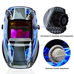 Tekware Welding Helmet Solar Power Auto Darkening Hood Welder Mask Breathable Grinding Helmets with Adjustable Shade Range (Color: Blue Fire)