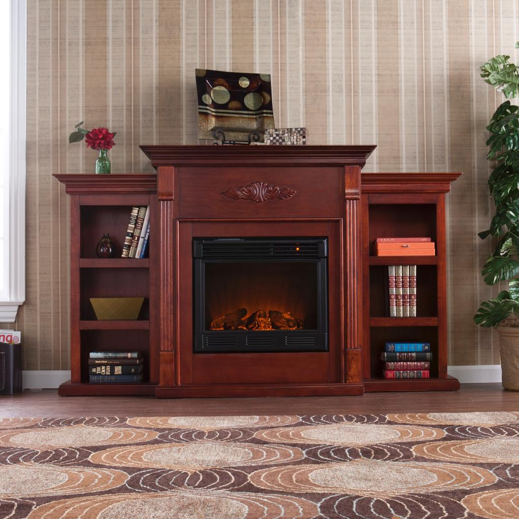 Southern Enterprises Tennyson Mahogany Electric Fireplace With Bookcases Gas Logs