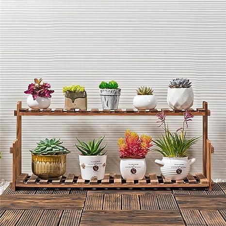 Massivholz-Blumen-Rack-Wohnzimmer-Balkon-Fußboden Mehrgeschossige Blumen-Becken Indoor Einfache Betriebsregale ( größe : 70*21*22cm )