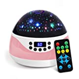 AnanBros Remote Baby Night Light with Timer Music, Star Night Light Projector for Kids, Rotating Kids Night Lights for Bedroom 9 Color Options, Projection Lamp for Baby Christmas Gifts Pink (Color: Pink)