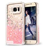 Galaxy S7 Case, Wuloo Samsung Galaxy S7 Hard Case Fashion Creative Design Flowing Liquid Floating Luxury Bling Glitter Sparkle Love Heart Hard Case for Girls Children (Pink)