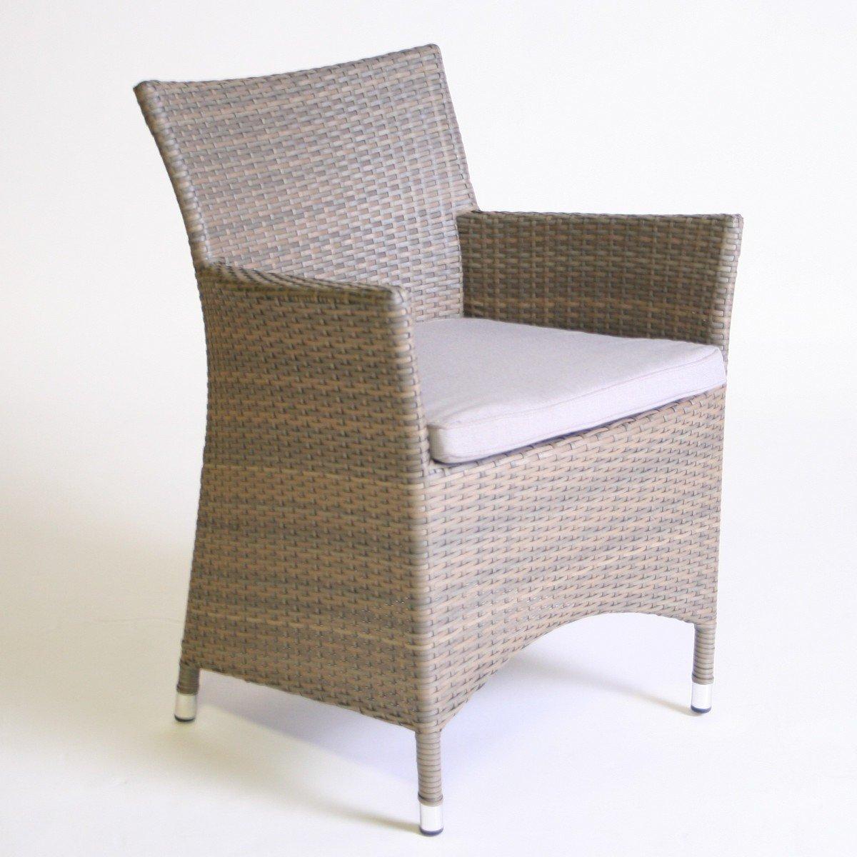 Dreams4Home Gartensessel Rattan 'Dafne' braun beige Gartenstuhl Stuhl inkl. Polster , Farbe:Beige online kaufen