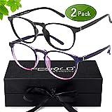 FEIYOLD Blue Light Blocking Glasses Women/Men for Computer Use,FDA Approved Anti Eyestrain Gaming Glasses,Cut UV400 Transparent Lens(2Pack) (Color: Black+Purple)