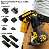 Spider Tool Holster QUAD TOOL KIT - 10 Piece Set for Carrying Tools and Organizing Drill Bits (Tamaño: QUAD TOOL KIT including BitGripper & Accessories)