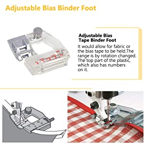 Sewing Machine Feet, 3Pcs Rolled Hem Pressure Foot,3Pcs Narrow Rolled Hem Presser Feet & Adjustable Guide Presser Foot, Bias Binder Foot Compatible with Singer, Brother, Janome etc. (Color: 8 PCS)