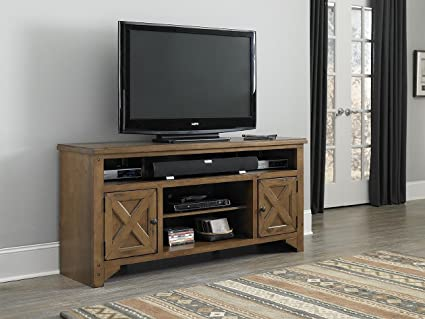 64 in. TV Console Table in Rustic Pine Finish