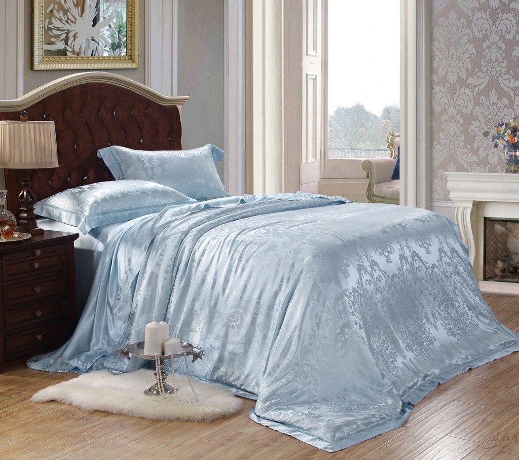 Orifashion Limited Edition Luxury 5-Piece 100% Silk Light Blue Floral Pattern Jacquard Bedding Set, California King Size