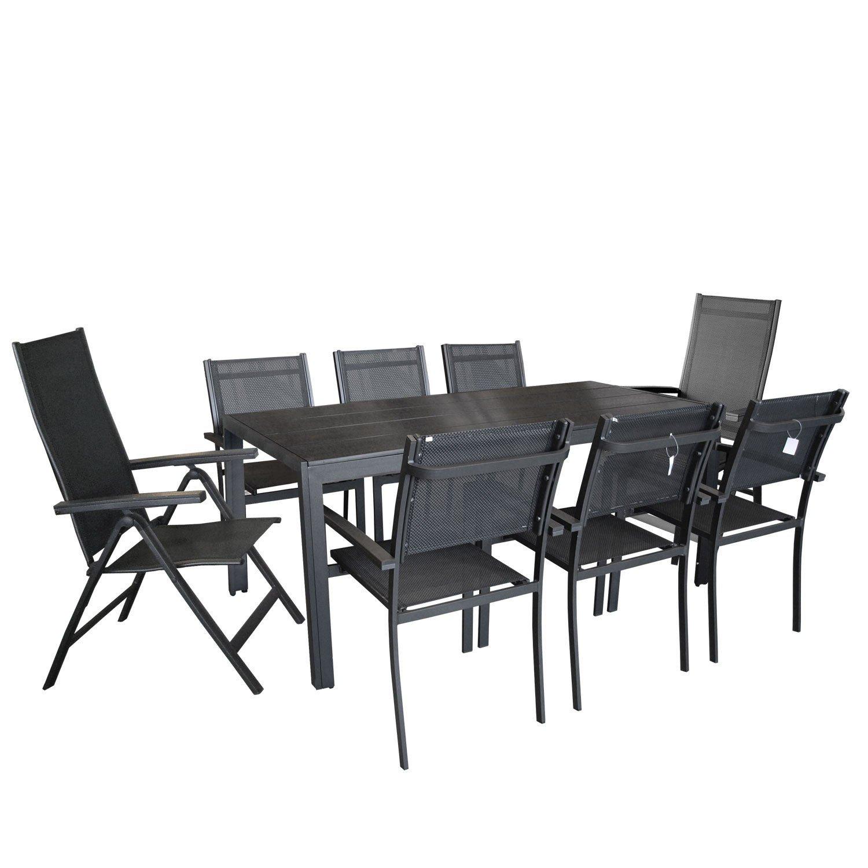 9tlg Gartengarnitur Gartenmöbel Terrassenmöbel Set Gartentisch mit schwarzer Polywood Tischplatte 205x90cm 2x Hochlehner mit 6-fach verstellbarer Rückenlehne 4x Stapelstuhl mit 4x4x Textilenbespannung Sitzruppe Sitzgarnitur