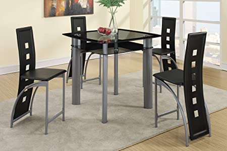 Poundex F2224 & F1222 Black Painted Glass & Leatherette Chairs Counter Dining Set