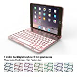 iPad mini 4 Keyboard Case with 7 Colors Backlit 135 Degree Adjustable Angles Addprime Rose Gold Aluminum Alloy Shell and Back Plate Chocolate ABS Button Wireless Bluetooth Keyboard for iPad mini4 (Color: iPad mini 4 Rose Gold, Tamaño: iPad Mini 4)