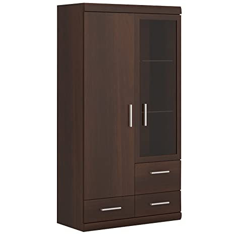 Furniture To Go Imperial 2-Door 3-Drawer Glazed Display Cabinet, 80 x 152 38 cm, Dark Mahogany