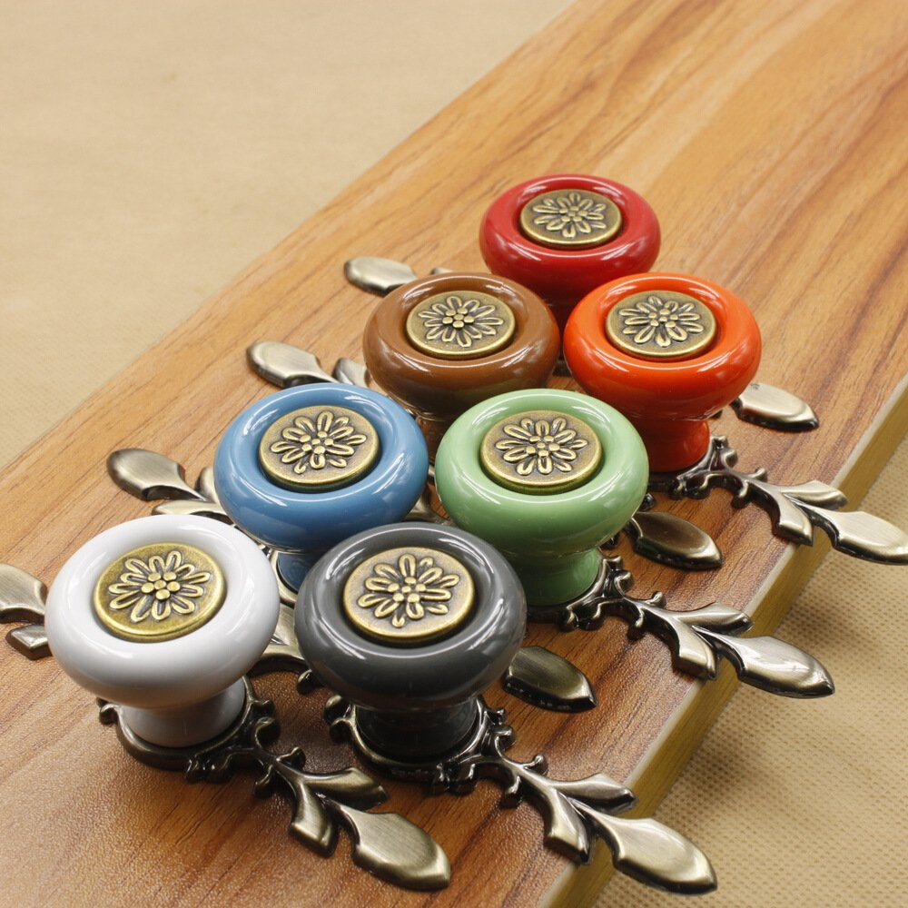 Sytian® 7pcs Multicolor High Quality Vintage Style Ceramic Pumpkin Drawer Knobs Dresser Cabinet Cupboard Wardrobe Pull Handles Door Knobs - With Screw 1