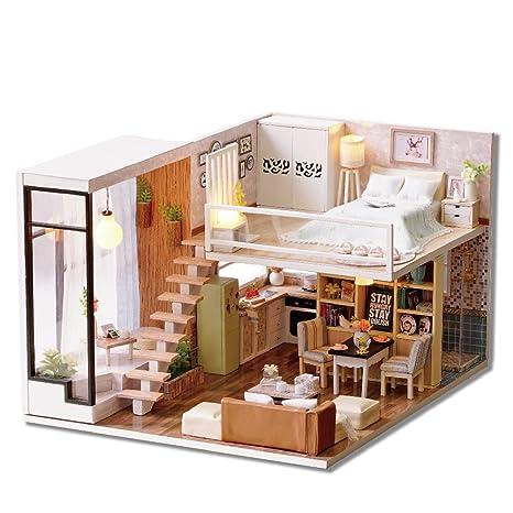 Kit maison de poupée miniature à fabriquer soi-même, modèle duplex et éclairage LED