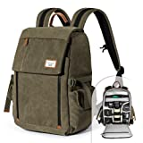 Camera Backpack Zecti Waterproof Canvas Professional Camera Bag for Laptop and Other Digital Camera Accessories with Rain Cover-Green (Color: Green, Tamaño: Style 1)