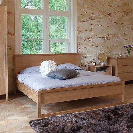 Bett aus Eiche teilmassiv Komforthöhe Breite 189 cm Liegefläche 180x200 Pharao24