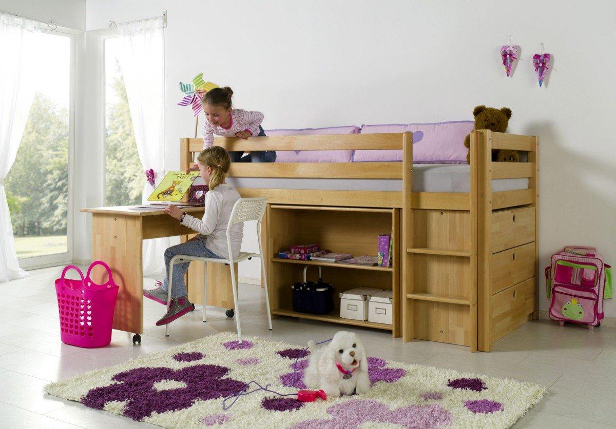Dreams4Home Kinderbett Hochbett Spielbett Bett 'Trino' 90×200 cm Buche massiv natur lackiert inklusive Regal Kommode und Schreibtisch günstig