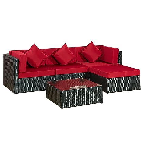 Gartenmoebel Bergen II schwarz-rot aus Stahl Garten Polyrattan Rattan Lounge Set Neu Gartenausstattung von Jet-Line