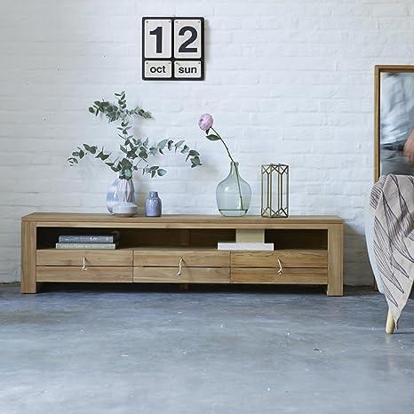 Módulo TV mueble mesa teca madera maciza clara entretenimiento comedor
