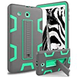 Galaxy Tab E 9.6 Case,TOPSKY[Kickstand Feature] Three Layer Hybrid Heavy Duty Full-Body Shockproof Anti-Slip Protective Case for Samsung Galaxy Tab E 9.6 inch Tablet,Grey/Green (Color: Grey/Green)
