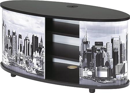 Simmob PRINT110NO508 New York Meuble TV Panneau/Bois Mélaminé Noir 50,8 x 110,4 x 45,4 cm
