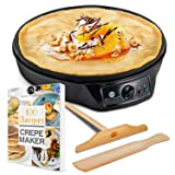 "Crepe Maker Machine Pancake Griddle – Nonstick 12"" Electric Griddle – BONUS 100 RECIPE COOKBOOK, Batter Spreader & Wooden Spatula – Pan for Roti, Tortilla, Blintzes – Portable, Compact, Easy Clean."