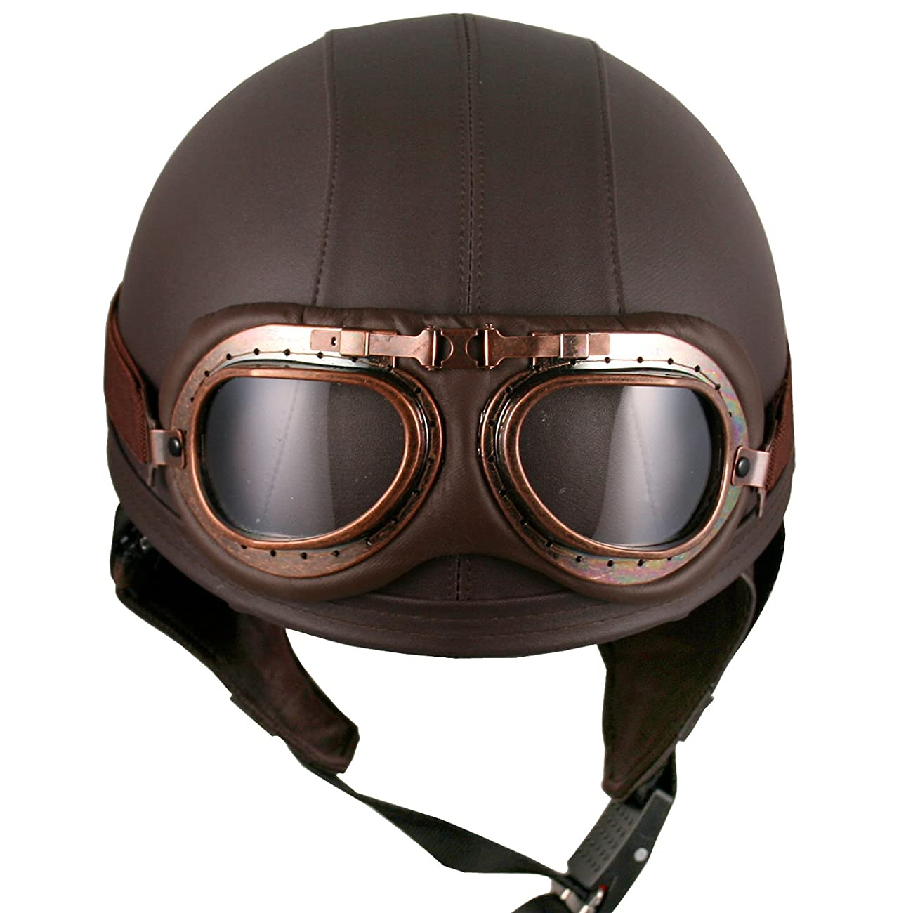 Leather Goggles German Vintage Style Half 1/2 Helmet Motorcycle Biker Cruiser Scooter Touring Helmet (Brown) 1