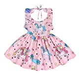 Cotrio Baby Girls Sundress Unicorn Strappy Backless Slip Dress Toddler Pageant Dresses Birthday Party Evening Gowns Size 3T (100, 2-3Years) (Color: Pink, Tamaño: 3T (2-3Years))