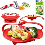 PREMIUM Silicone Vegetable Steamer Basket - Red - BEST Bundle - Fits Instant Pot Pressure Cooker 5, 6 Qt & 8 Quart - 100% Silicon - BONUS Accessories - eBook + Peeler | For Instapot - Use as Egg Rack