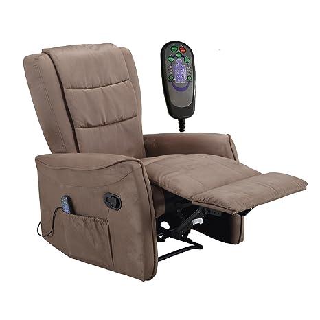 Fernsehsessel mit elektr. Shiatsu Massage und Heizung TV Liege- Relaxsessel Mikrofaser beige