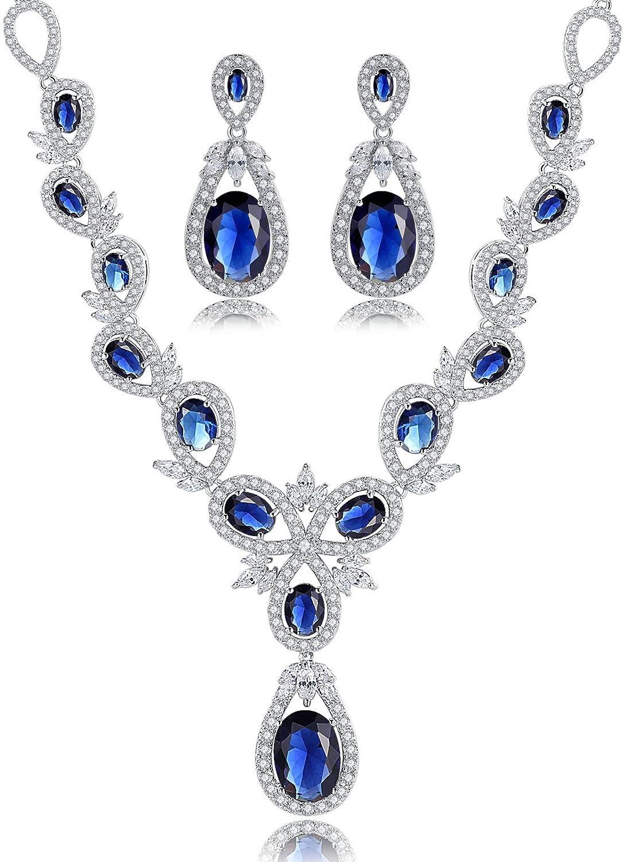 Hochzeit Braut Erklärung Halskette und Ohrringe Set für Damen, blauen Oval und klar Marquise Zirkonia als Geschenk