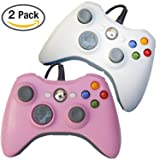 FSC Mixed Pack of 2 USB Wired Game Pad Controller for Use With Xbox 360, Windows 10 5 Colors (Pink/White)