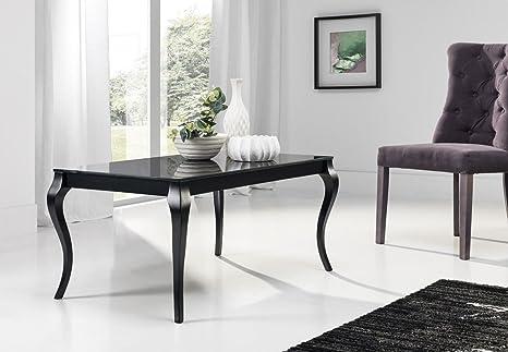 Hochwertiger Couchtisch Retro Tisch MN-1 Schwarz mit Schwarzglas Barock
