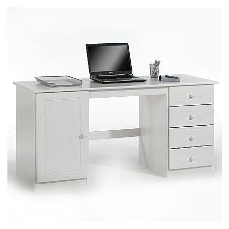 Schreibtisch Computertisch PC-Schreibtisch, Kiefer massiv in weiß lackiert mit vier Schubladen