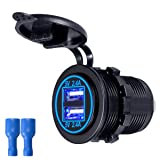 Zeato 4.8A Dual USB Charger Socket Waterproof Power Outlet 5V [2.4A & 2.4A] Dual Ports Fast Charge Adapter for iPhone Smartphone Car Boat Marine RV Mobile (Blue) (Color: 4.8A Dual USB (Blue))