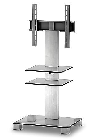 Sonorous pl2525-c-inx supporto per TV in vetro trasparente e acciaio inox, con supporto da parete