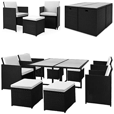 Cube Rattan Garden Furniture Set - 21 pcs - Table Chairs Sofa Set with Cushions Outdoor Patio Wicker 8 Seater