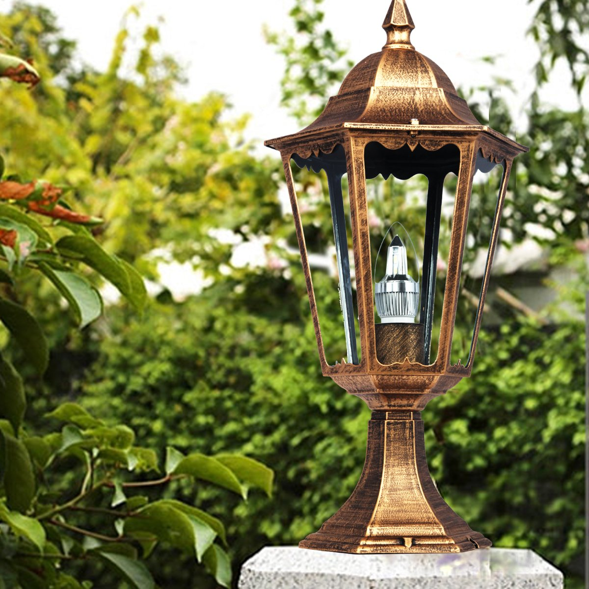 large elegant outdoor solar powered led garden yard pillar light lamp