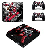 Adventure Games - PS4 SLIM - Deadpool - Playstation 4 Vinyl Console Skin Decal Sticker + 2 Controller Skins Set (Tamaño: PS4 SLIM)