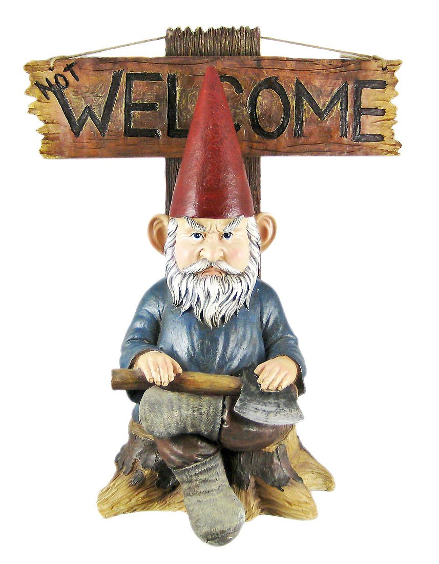 """Gnome In Garden: Large 15""""H Grinchy Gnome Greeter Go Away Un-Welcome"""